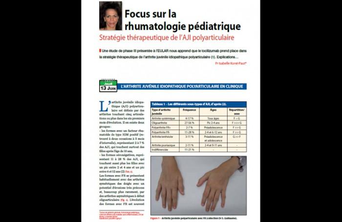 Focus sur la rhumatologie pédiatrique - Stratégie thérapeutique de l'AJI polyarticulaire